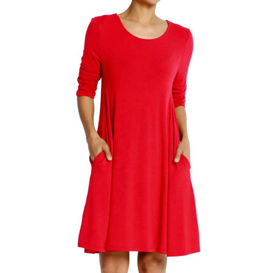 Womens Casual Dresses Themogan S~3xl Basic 3/4 Sleeve Pocket Swing Flared Tunic Dress Longline Top