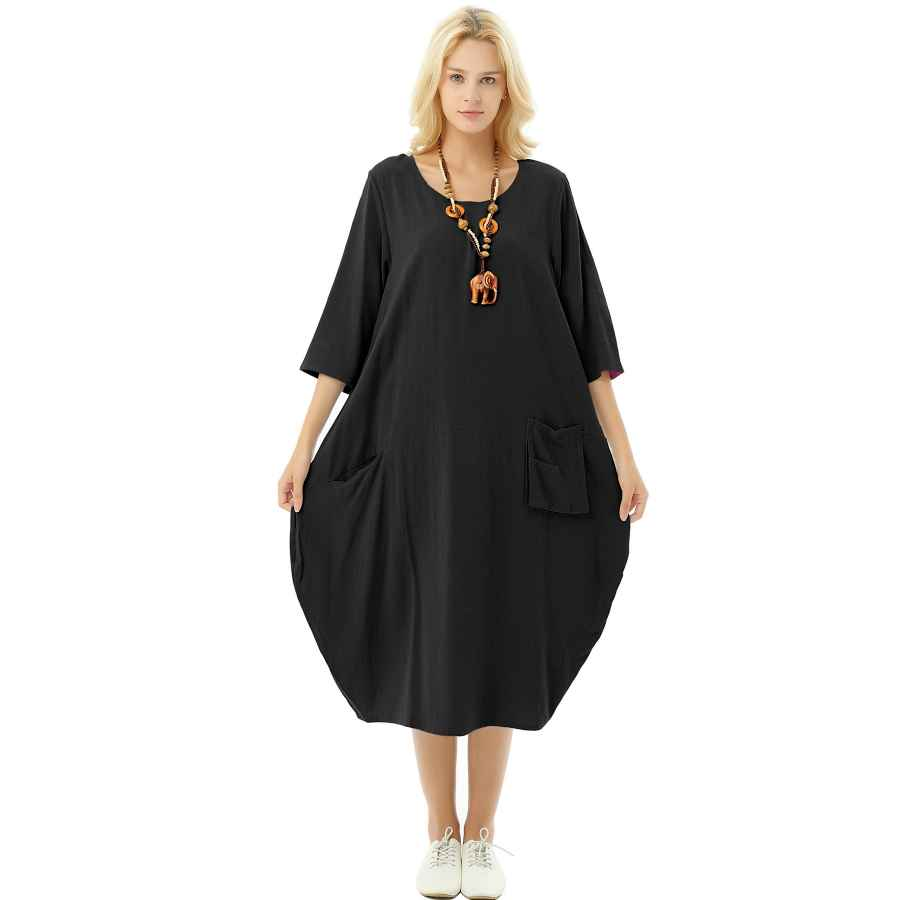 Womens Casual Dresses Anysize Soft Linen Cotton Lantern Loose Dress Spring Summer Fall Plus Size Clothing Y19