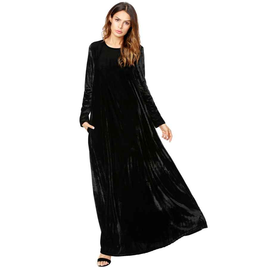 Womens Casual Dresses Makemechic Women's Elegant Long Sleeve Velvet Loose Maxi Dress