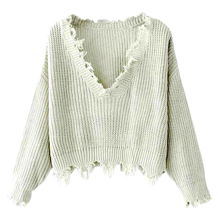 Pullower Zaful Women's Loose Long Sleeve V-Neck Ripped Pullover Knit