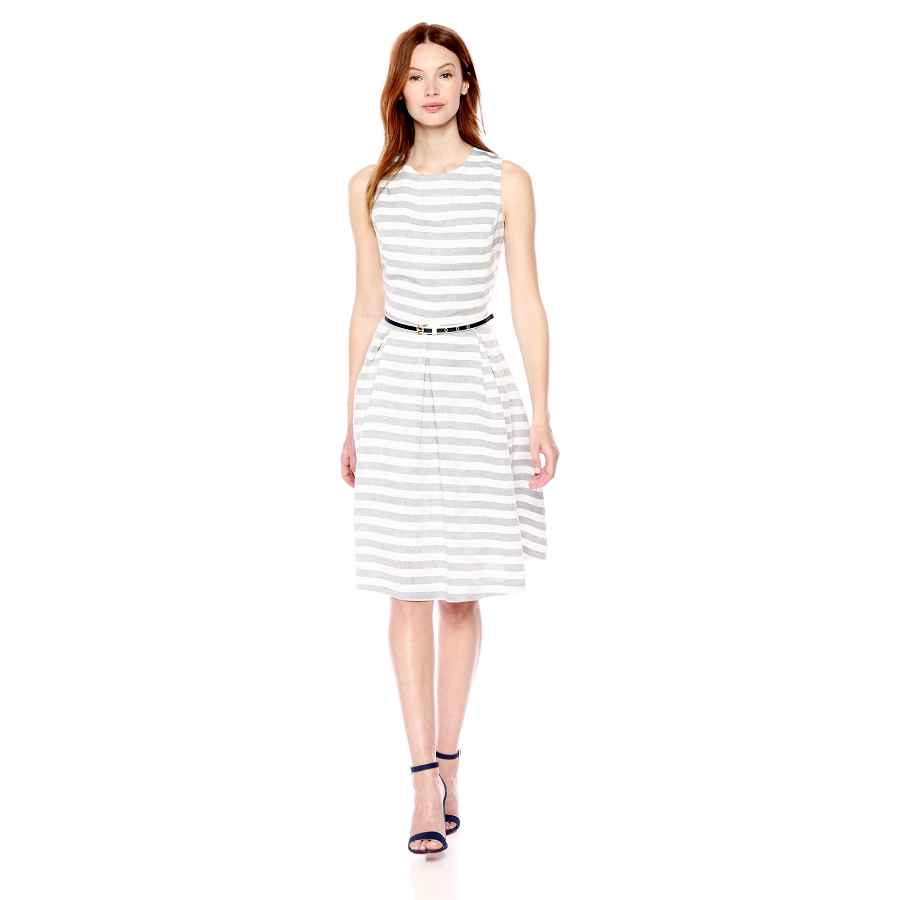 Party Dresses Nine West Women's Striped Fit And Flare Dress