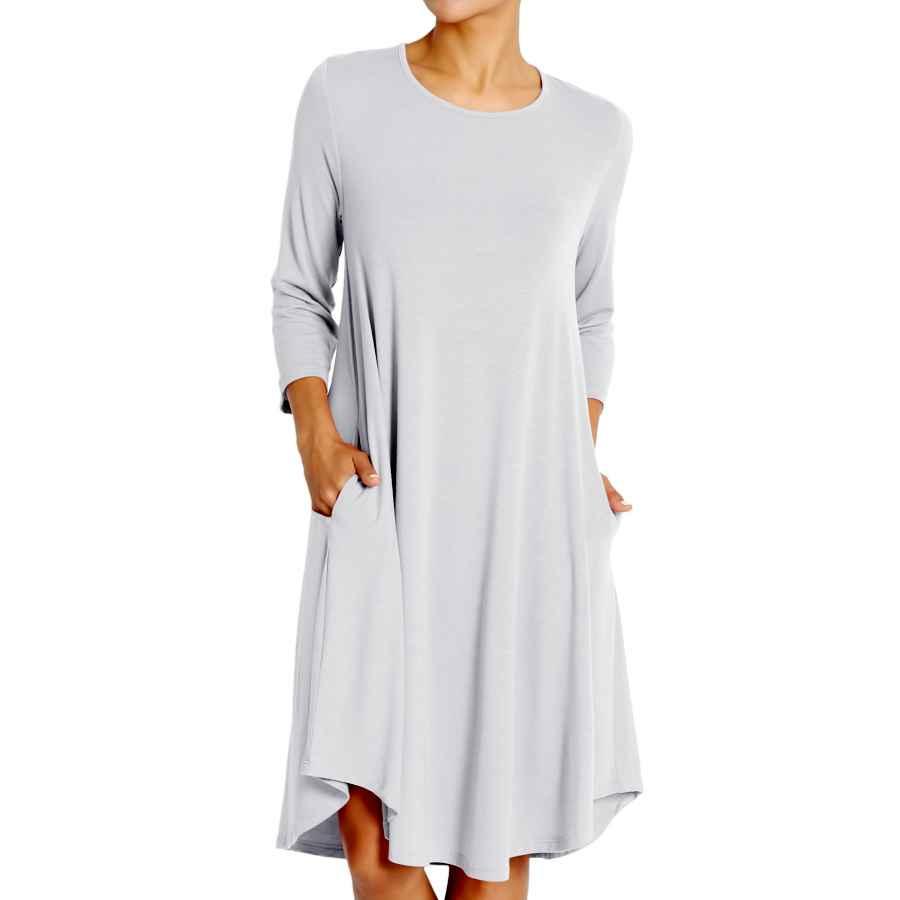 Womens Casual Dresses Themogan S~3x Basic Jersey Knit 3/4 Sleeve Trapeze Pocket Loose T-Shirt Dress