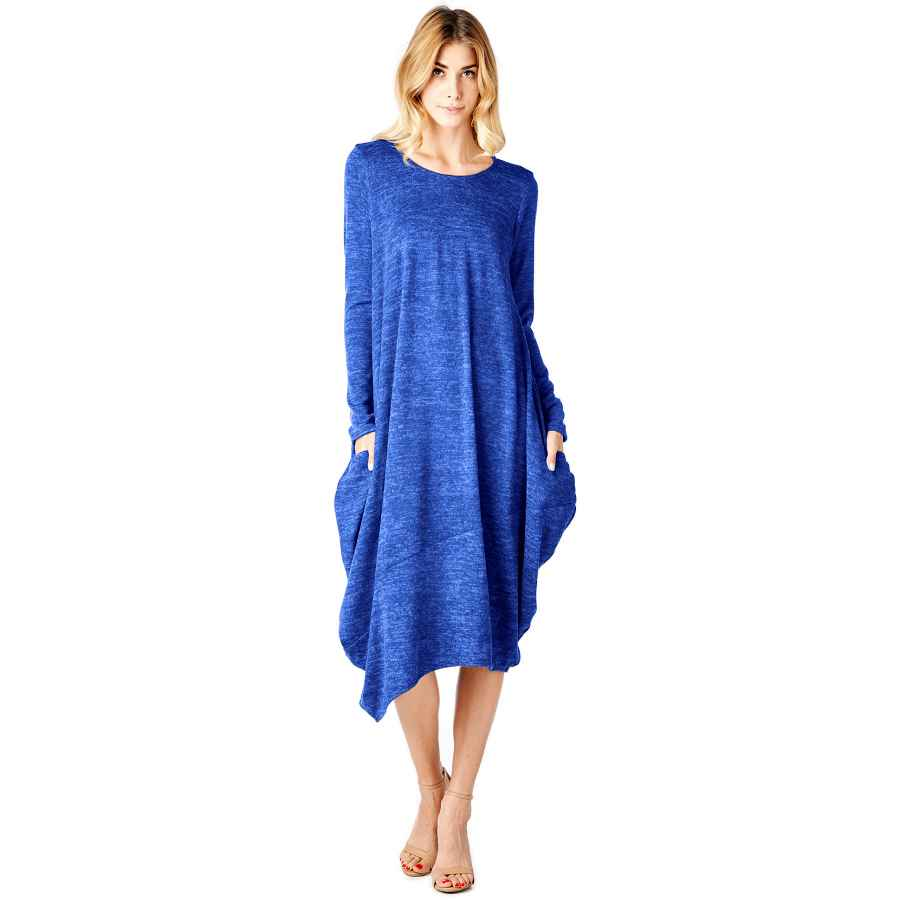 Womens Casual Dresses 12 Ami Asymmetrical Heathered Sweater Knit Midi Dress (S-Xxl) - Made In Usa
