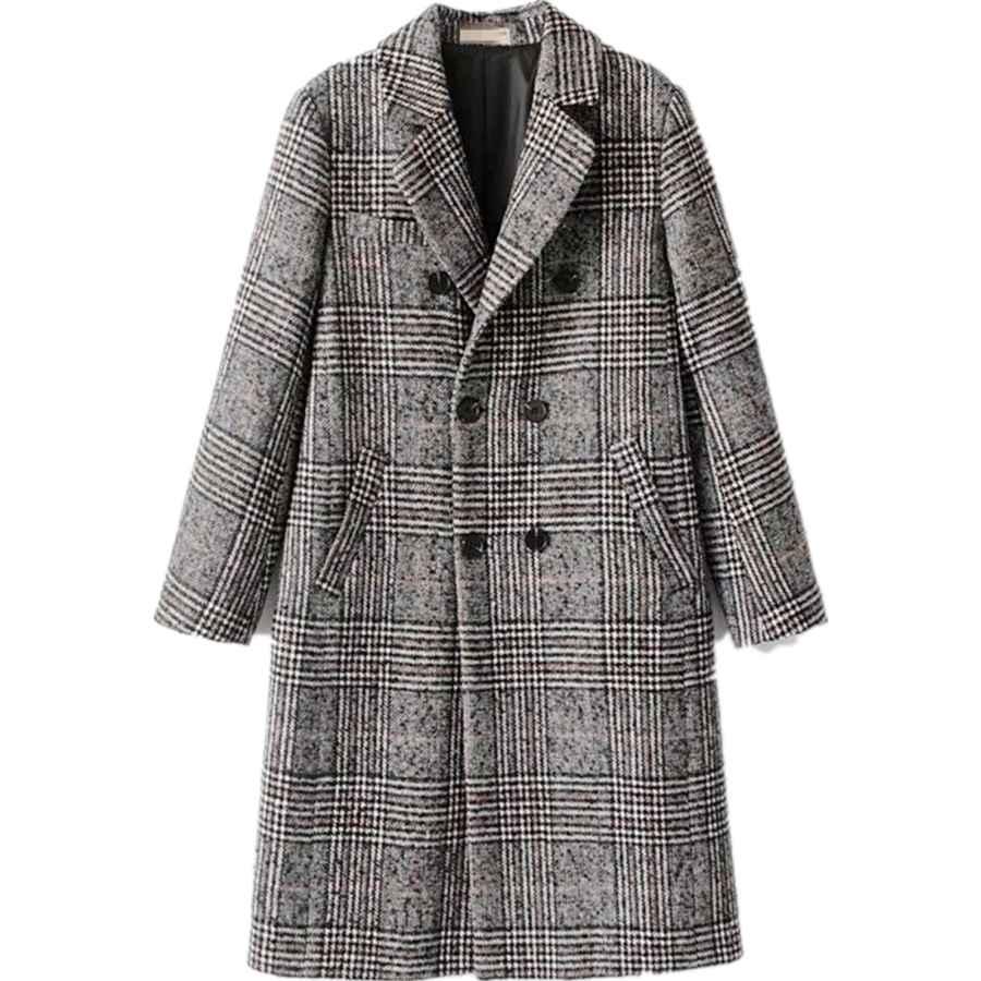 Chickle Women's Double Breasted Lapel Walker Long Wool Coat