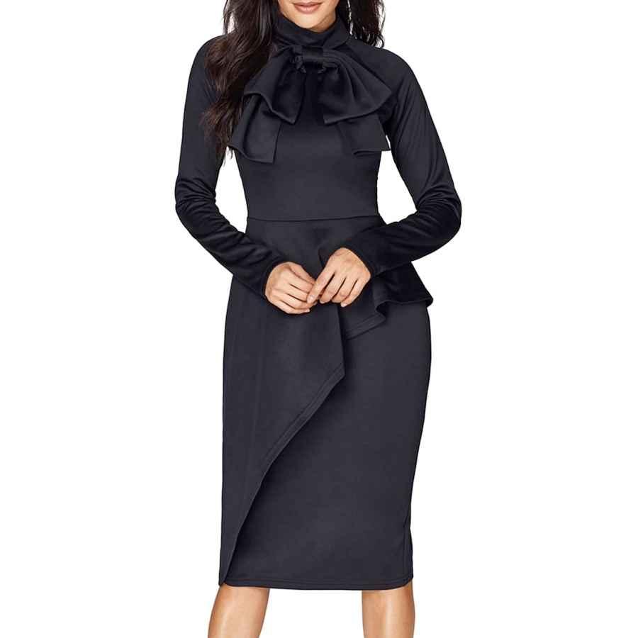 Womens Casual Dresses Cicides Womens Tie Neck Peplum Waist Long Sleeve Bodycon Business Dress(S-Xxl)
