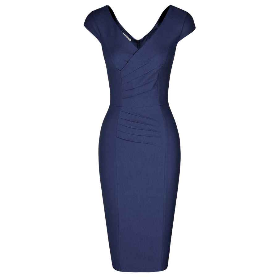 Womens Casual Dresses Muxxn Women's 1950'S Vintage V Neck Ruched Sheath Formal Pencil Dress