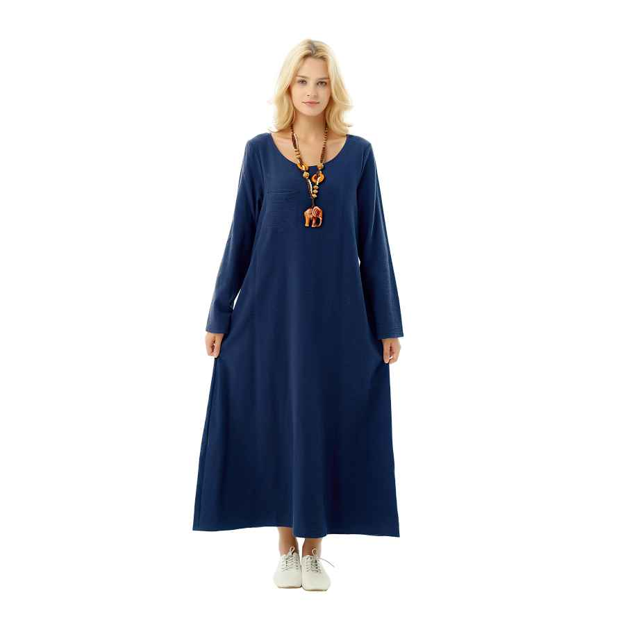 Womens Casual Dresses Anysize Long-Sleeved Linen Cotton Spring Summer Dress Plus Size Clothing F148a