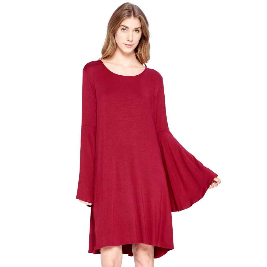 Womens Casual Dresses 12 Ami Bell Sleeve Loose Flowy T-Shirt Midi Dress (S-Xxxl) - Made In Usa