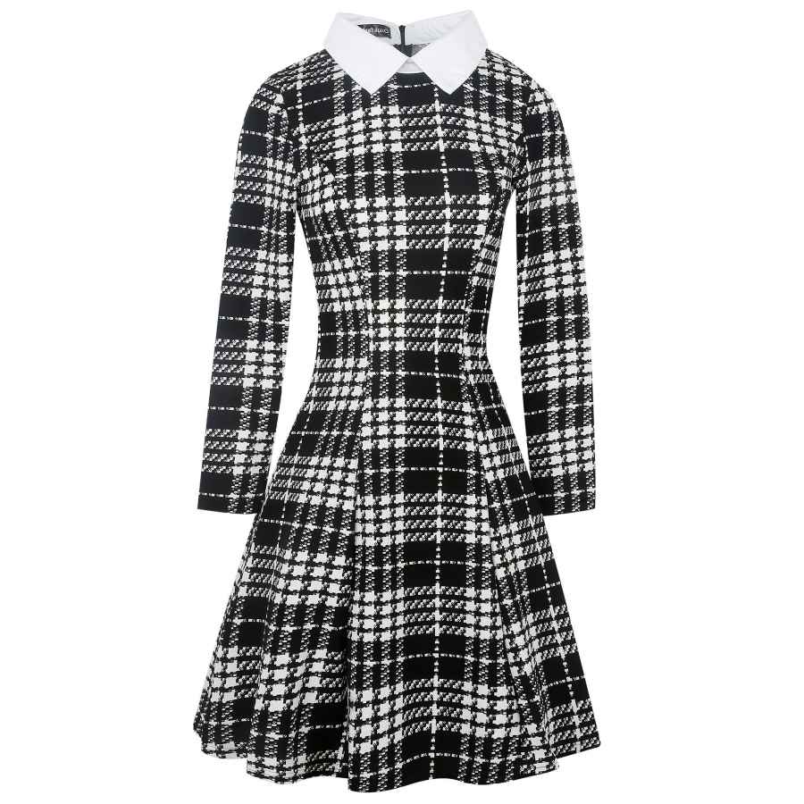 Womens Casual Dresses Oxiuly Women's Celebrity Retro Chic Turn Down Collar Colorblock Lapel Mini A-Line Casual Dress Ox272