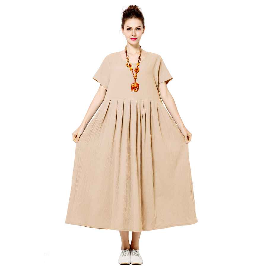 Womens Casual Dresses Anysize Soft Linen Cotton Loose Spring Summer Dress Plus Size Dress F122a