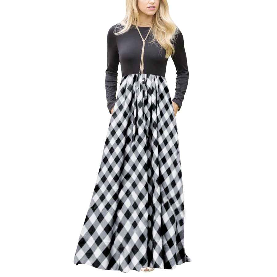 Womens Casual Dresses Merokeety Women's Plaid Long Sleeve Empire Waist Full Length Maxi Dress With Pockets