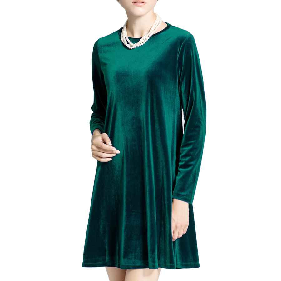 Womens Casual Dresses K&S Women's New A-Line Loose Crewneck Print Casual Velvet Dress Party Short Dress