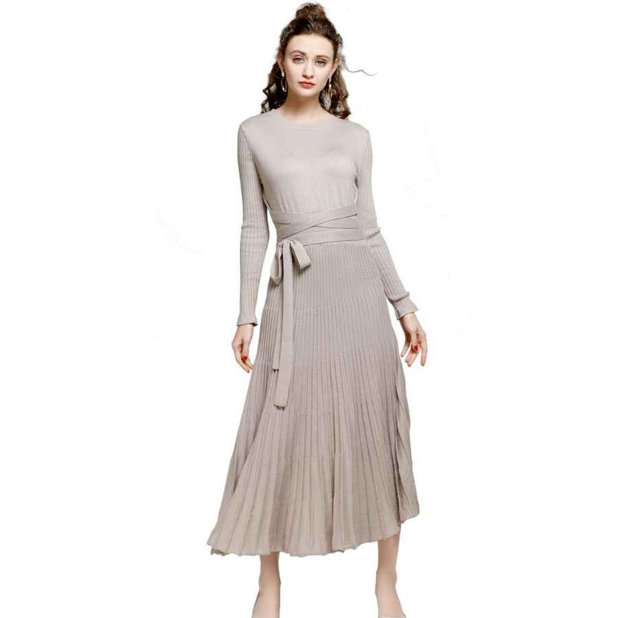 Womens Casual Dresses Fincati Long Sweater Dress Autumn Winter Cashmere Belt Fitted Waist Big Swing Flared Calf Length Maxi Dresses