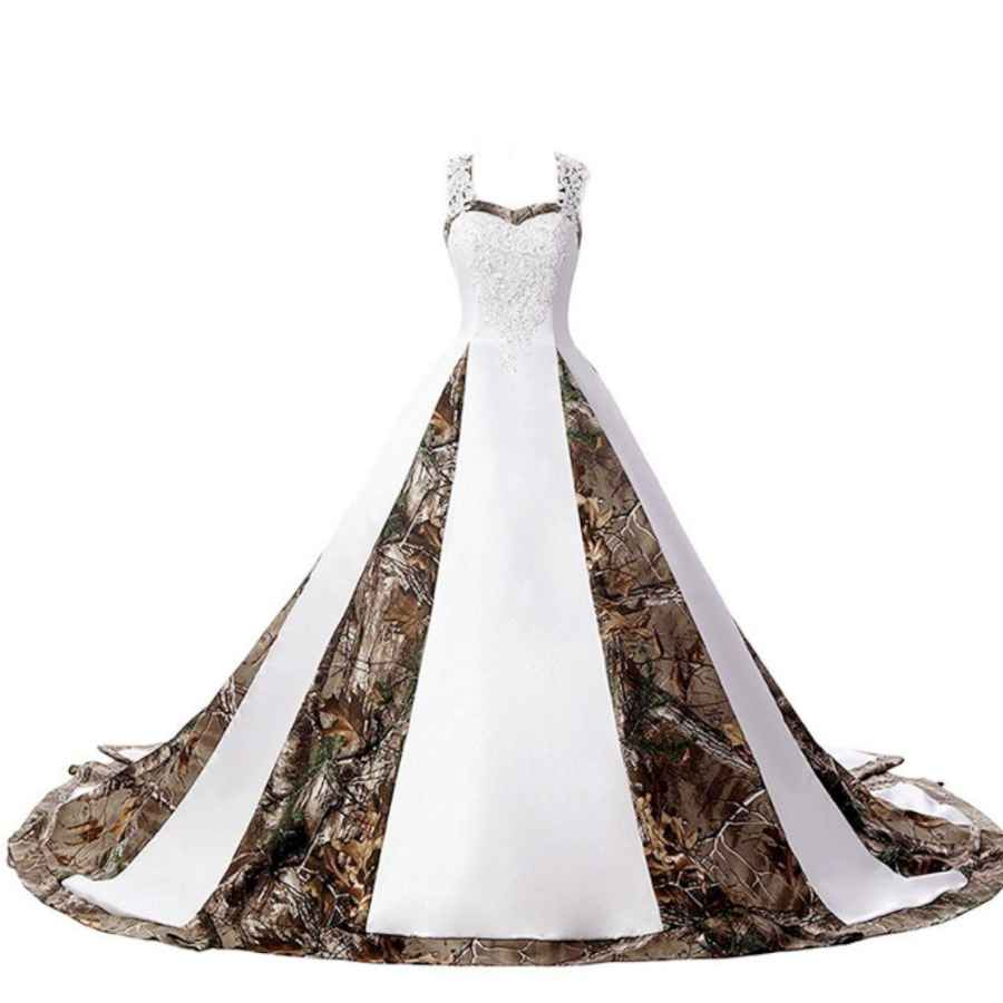 Wedding Dresses Zvocy Women's Camouflage Wedding Dresses For Bride Satin