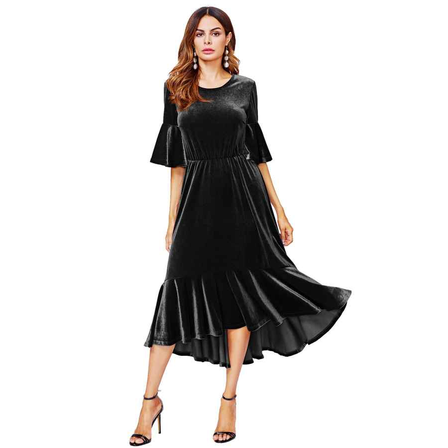Womens Casual Dresses Floerns Women's Trumpet Sleeve Flounce Ruffle Hem Velvet Midi Dress
