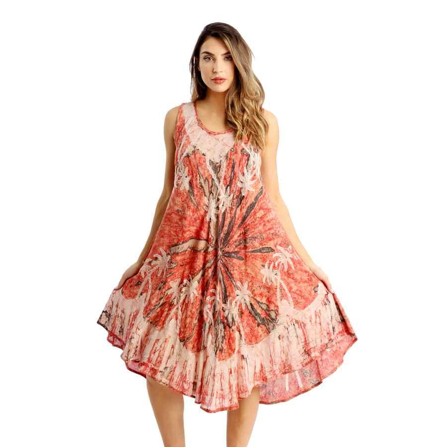 Womens Casual Dresses Riviera Sun Batik Marble Tie Dye Summer Dress Beach Cover Up