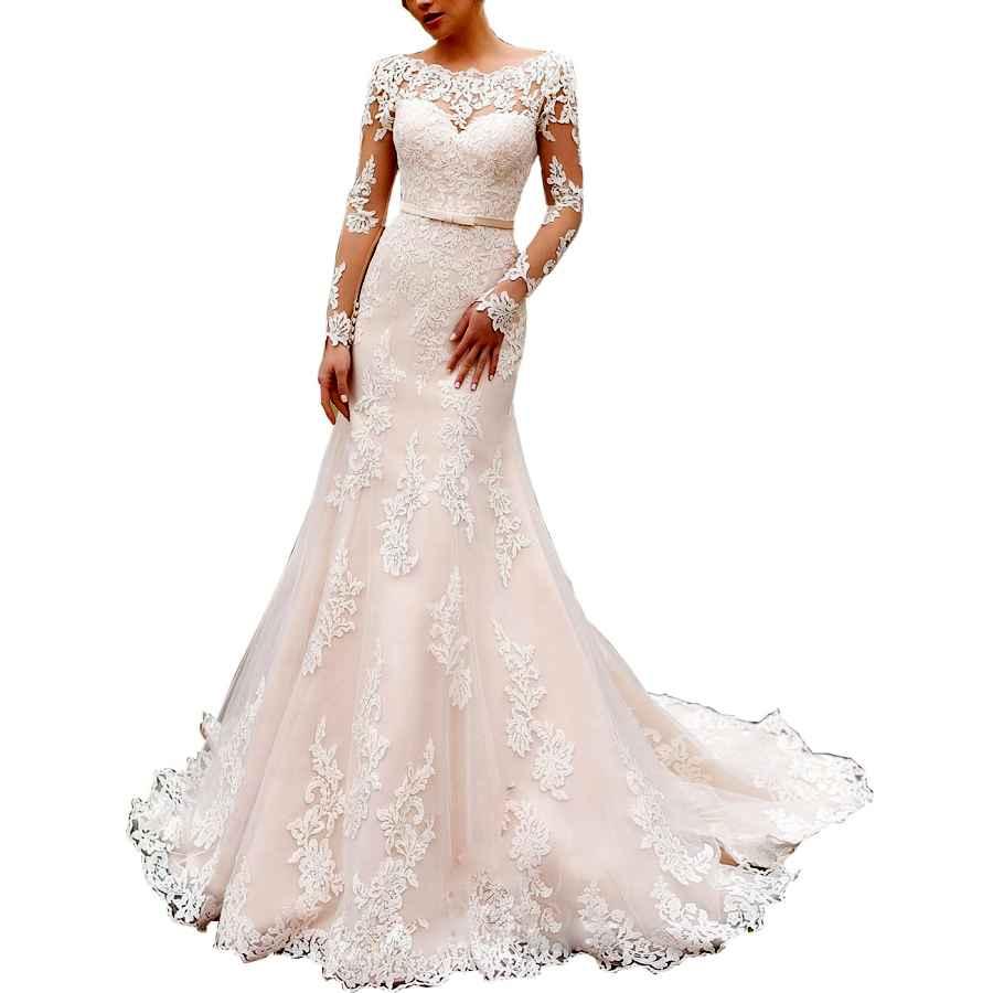 Wedding Dresses Women's Lace Long Sleeve Mermaid Wedding Dress Illusion