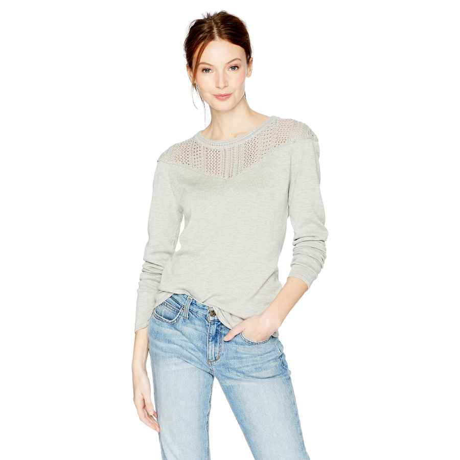 Pullower cable stitch women's pointelle inset long sleeve sweater