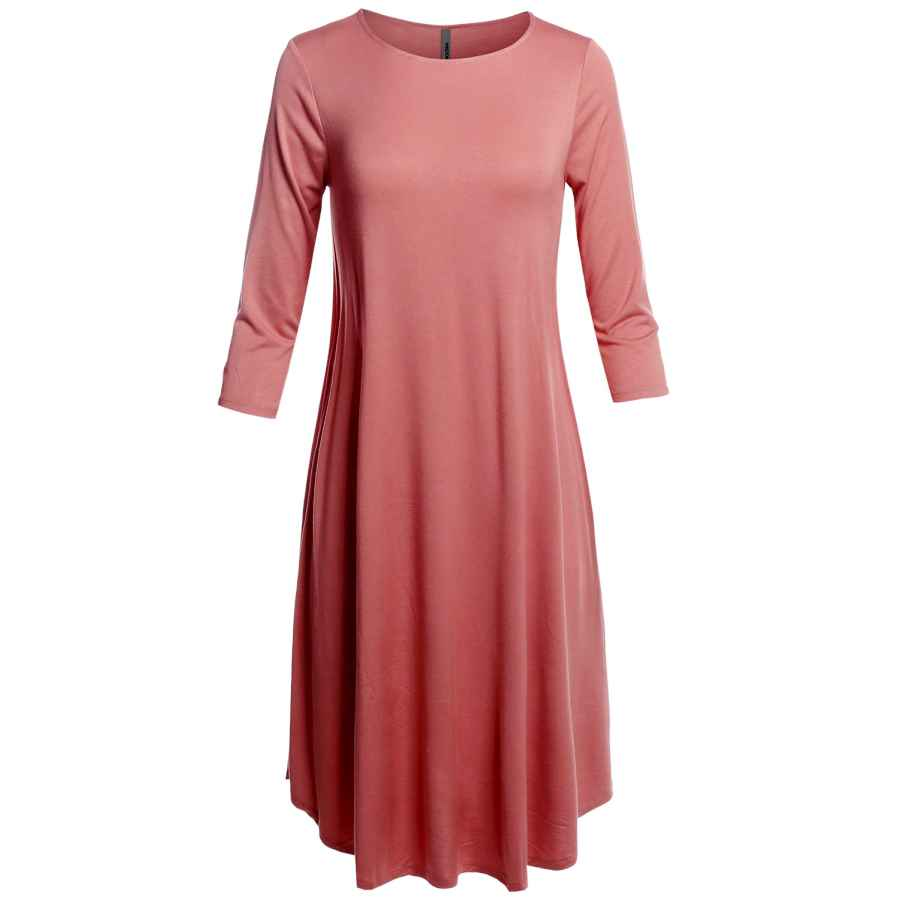 Womens Casual Dresses Made By Emma Women's Missy Casual Loose Fit Solid Viscose 3/4 Sleeve Round Neck Midi Dress
