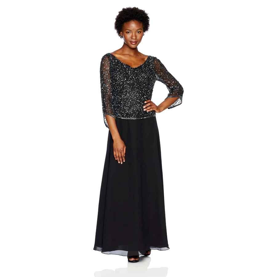 Womens Casual Dresses J Kara Women's Petite Long Beaded Dress With Cowl Neck
