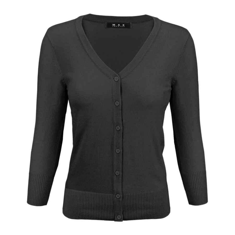 Cardigans Yemak Women's 3/4 Sleeve V-Neck Button Down Knit Cardigan