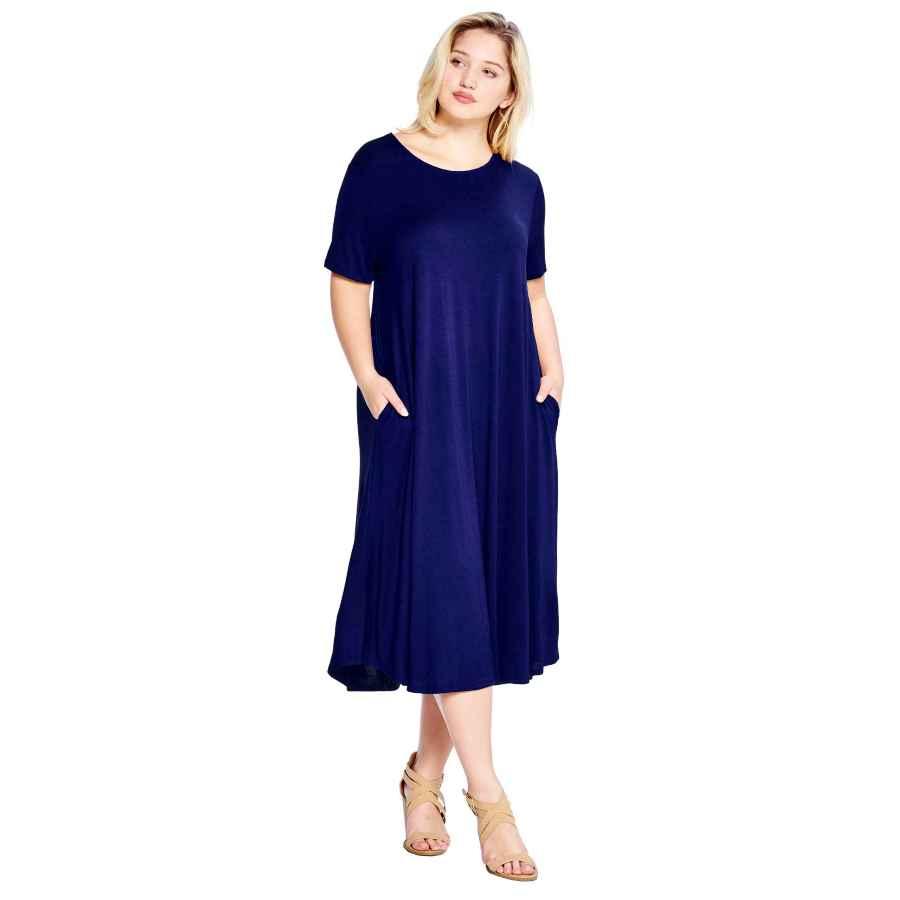 Womens Casual Dresses Modern Kiwi Women's Plus Size Short Sleeve Flowy A-Line Pocket Midi Maxi Dress (1x-5x)