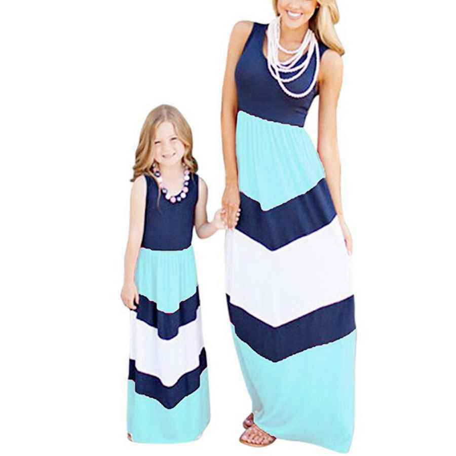 Womens Casual Dresses Bai You Mei Mommy And Me Dress Striped Print Tank Maxi Dress Family Clothes