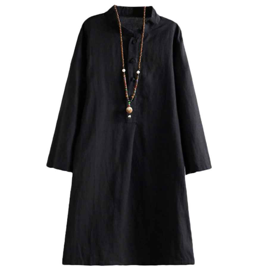 Womens Casual Dresses Minibee Women's Linen Retro Frog Button Blouse Loose Tunic Dress With Pockets