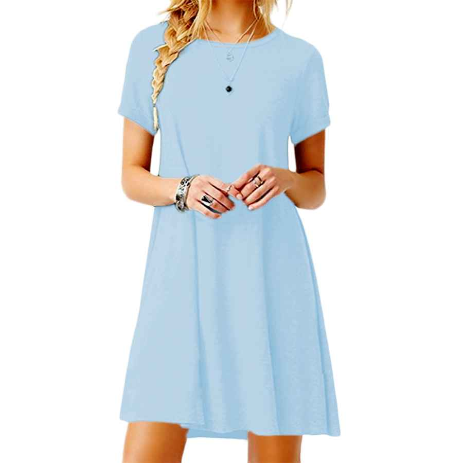 Womens Casual Dresses Yming Women Summer Casual T Shirt Dresses A Line Swing Simple Multicolor Mini Dress Plus Size