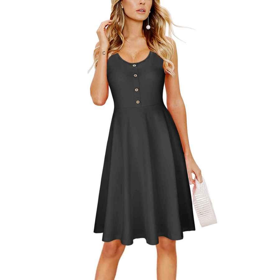 Womens Casual Dresses Ouges Women's Summer Sleeveless Button Flare Tank Dress Beach Wear