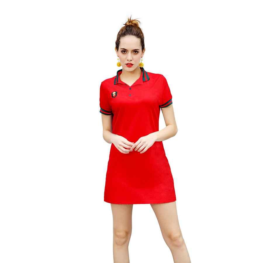 Womens Casual Dresses Zhijingbianwei Women's Casual Polo Dress Embroidery Badge Stretch Cotton Mini Short Sleeve Polo Shirt Golf Shirt