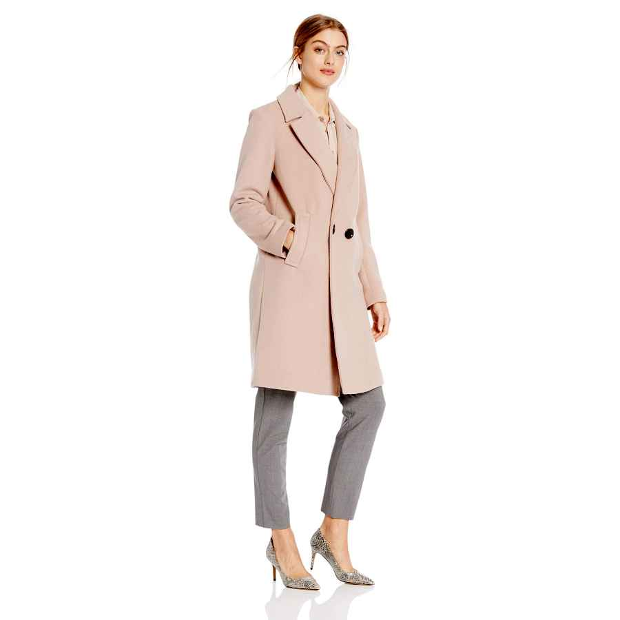 Women's Wool Coat Blend Single Breasted Classic Long Sleeve Top Pea Coats Winter Trench With Peter Pan Collar