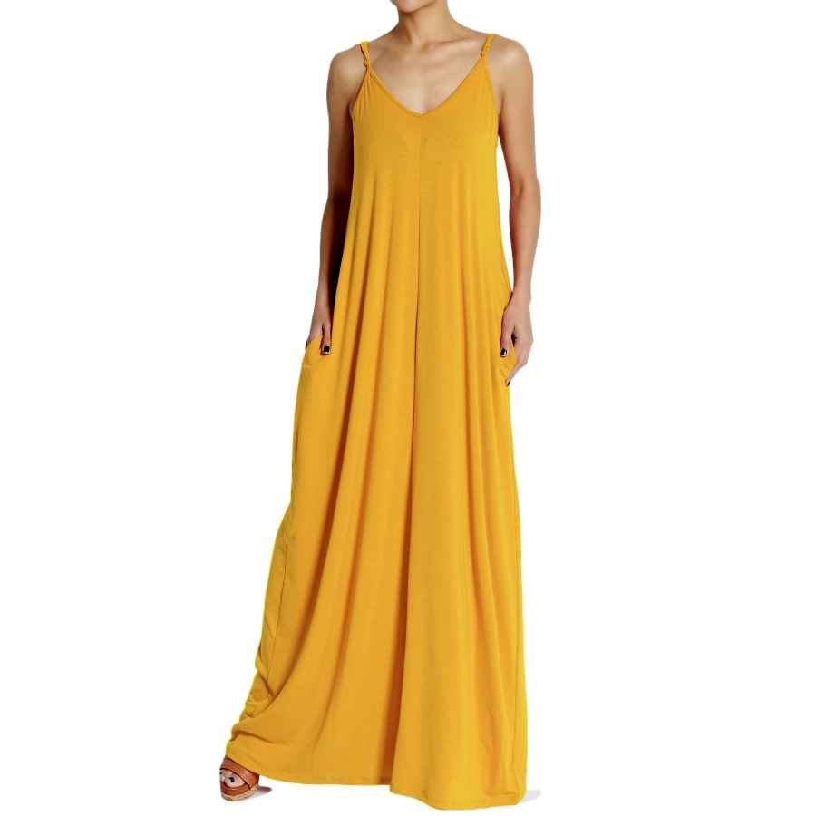 Womens Casual Dresses Themogan Casual Beach V-Neck Draped Soft Jersey Cami Long Maxi Dress With Pocket