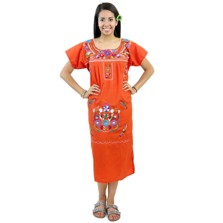 Womens Casual Dresses Mexican Dress Puebla Hand Embroidered