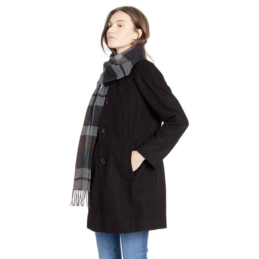 London Fog Women's Raglan Thigh Length Button Front Wool Coat With Scarf
