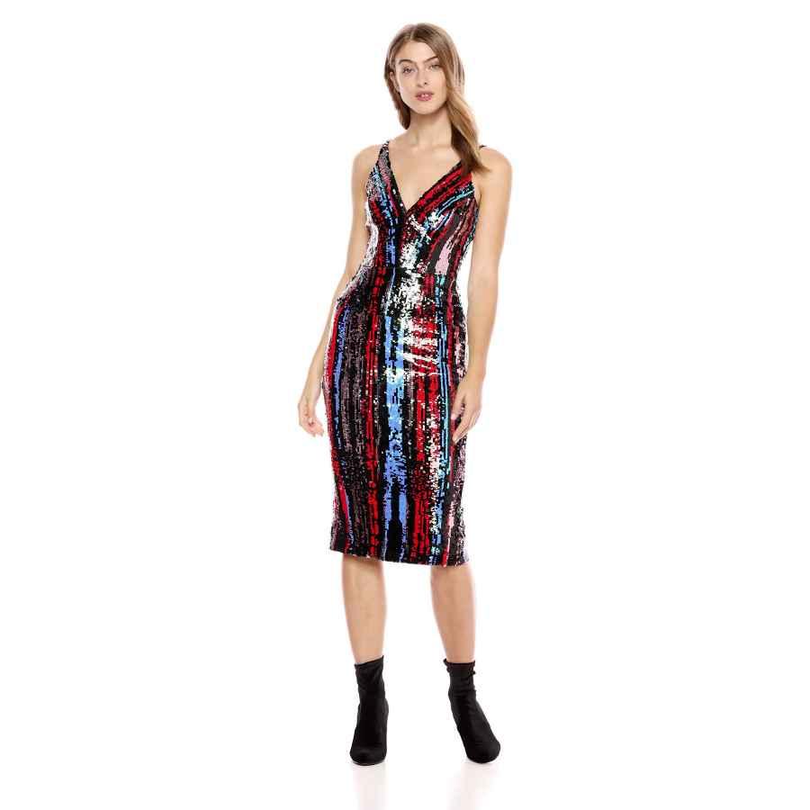 Womens Casual Dresses Dress The Population Women's Margo Sleeveless Sequin Stretch Midi Dress