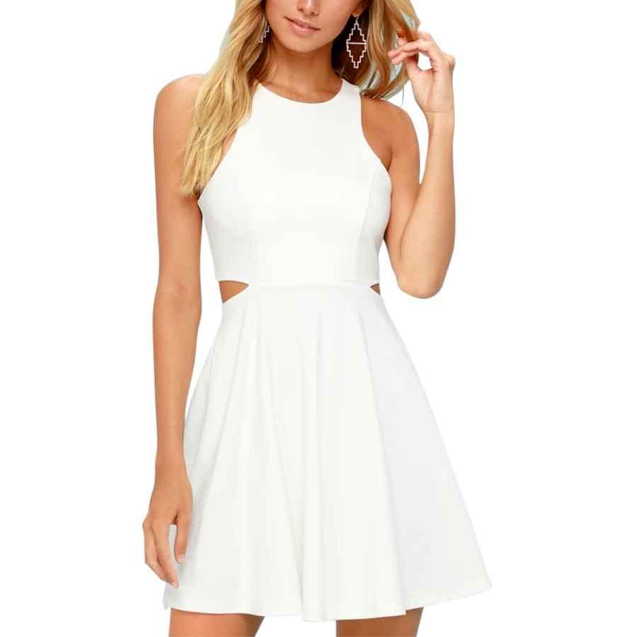 Womens Casual Dresses Belongsci Women Sweet And Cute Sleeveless Racerback Flared Swing A-Line Waist Hollow Out Summer Short Dress