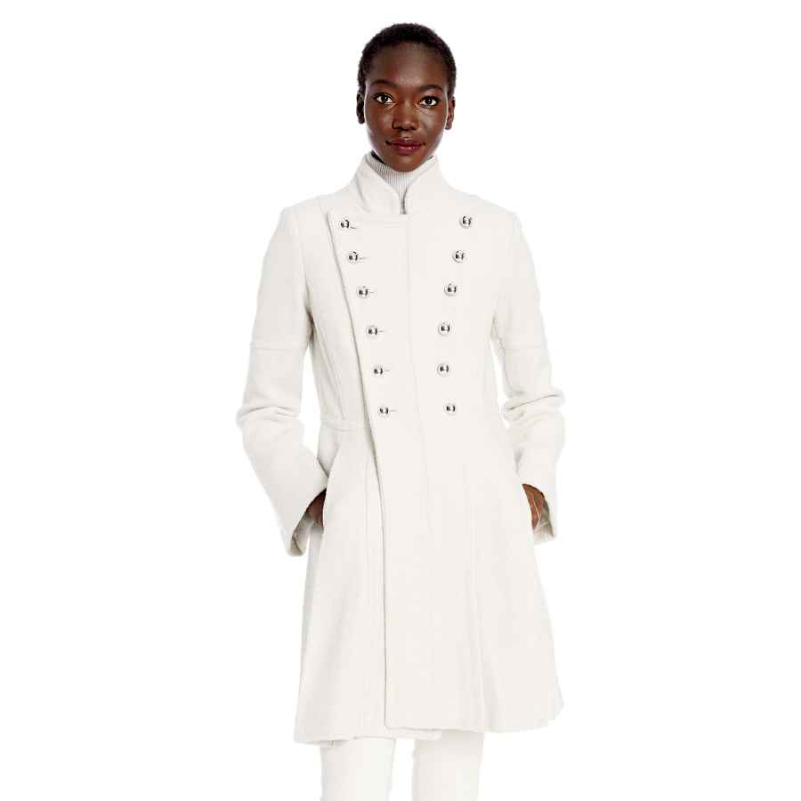 Allegra K Women's Double Breasted Notched Lapel Winter Long Plaids Trench Coat