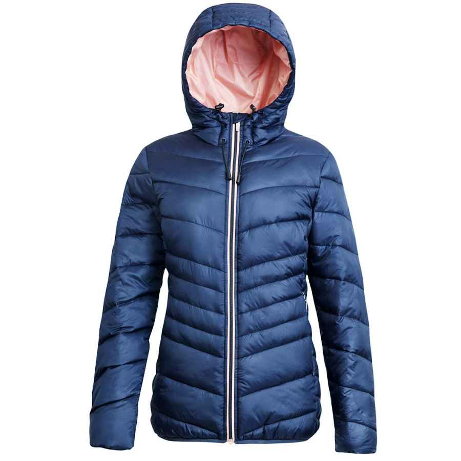 Rokka&Rolla Women's Lightweight Water Resistant Hooded Quilted Poly Padded Puffer Jacket Coat