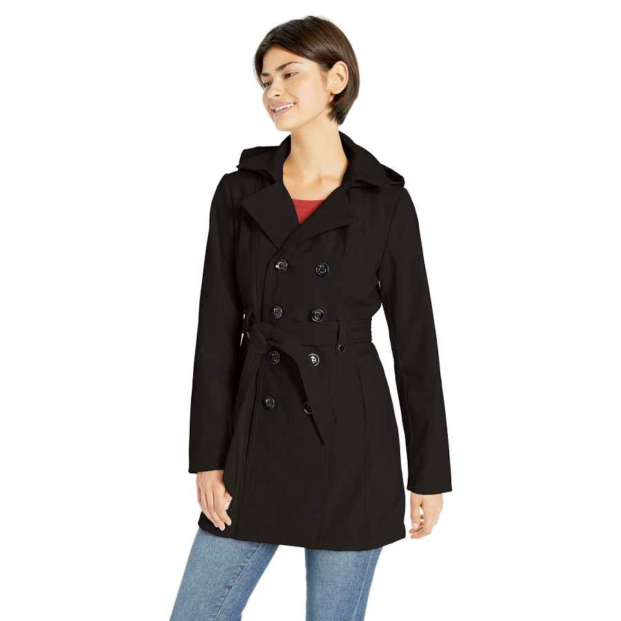 Sebby Collection Women's Soft Shell Trench Coat Water Resistant With A Detchable Hood