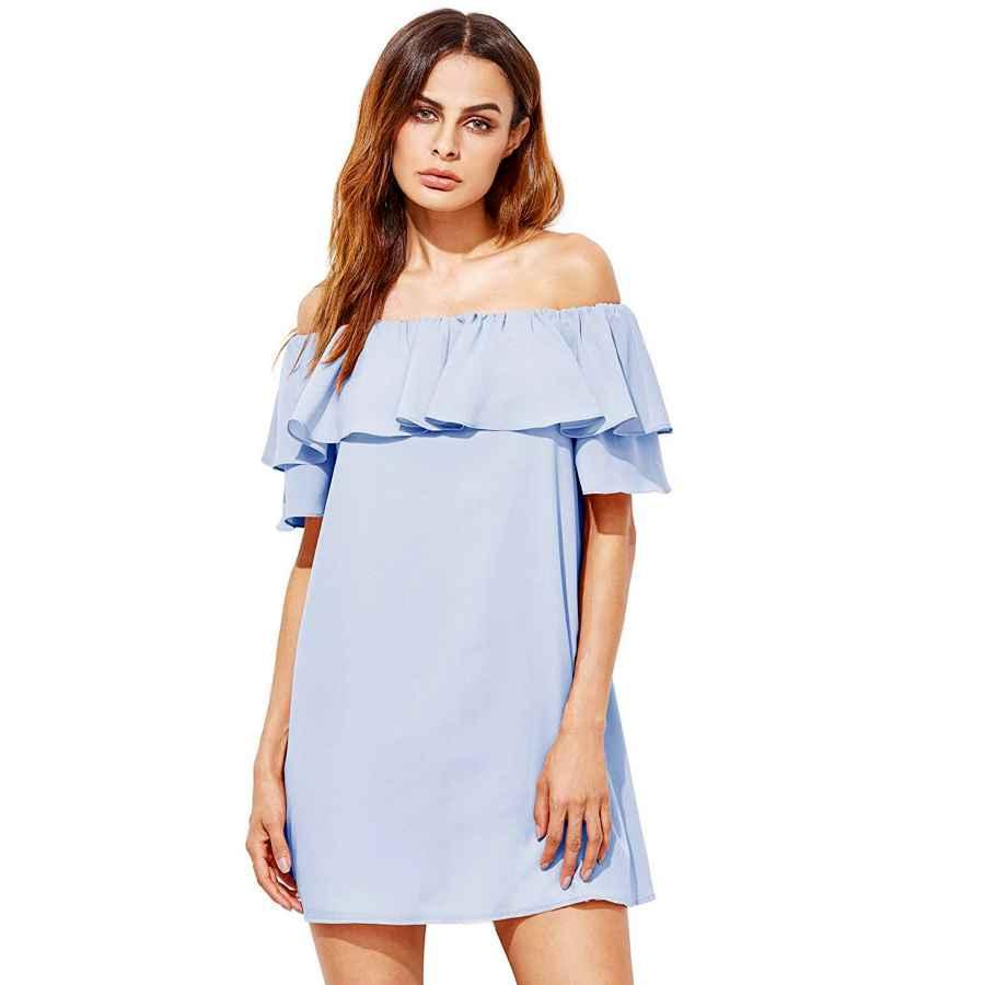 Womens Casual Dresses Milumia Women's Off Shoulder Ruffles Shift Loose Mini Dress