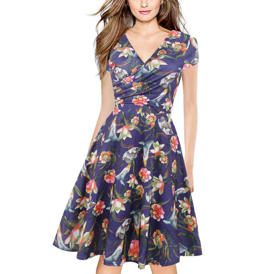 Womens Casual Dresses Oxiuly Women's Criss-Cross V-Neck Cap Half Sleeve Floral Casual Work Party Tea Swing Dress Ox233