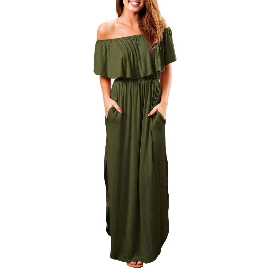Womens Casual Dresses Oyanus Womens Off The Shoulder Ruffles Pockets Dress Side Split Maxi Dresses