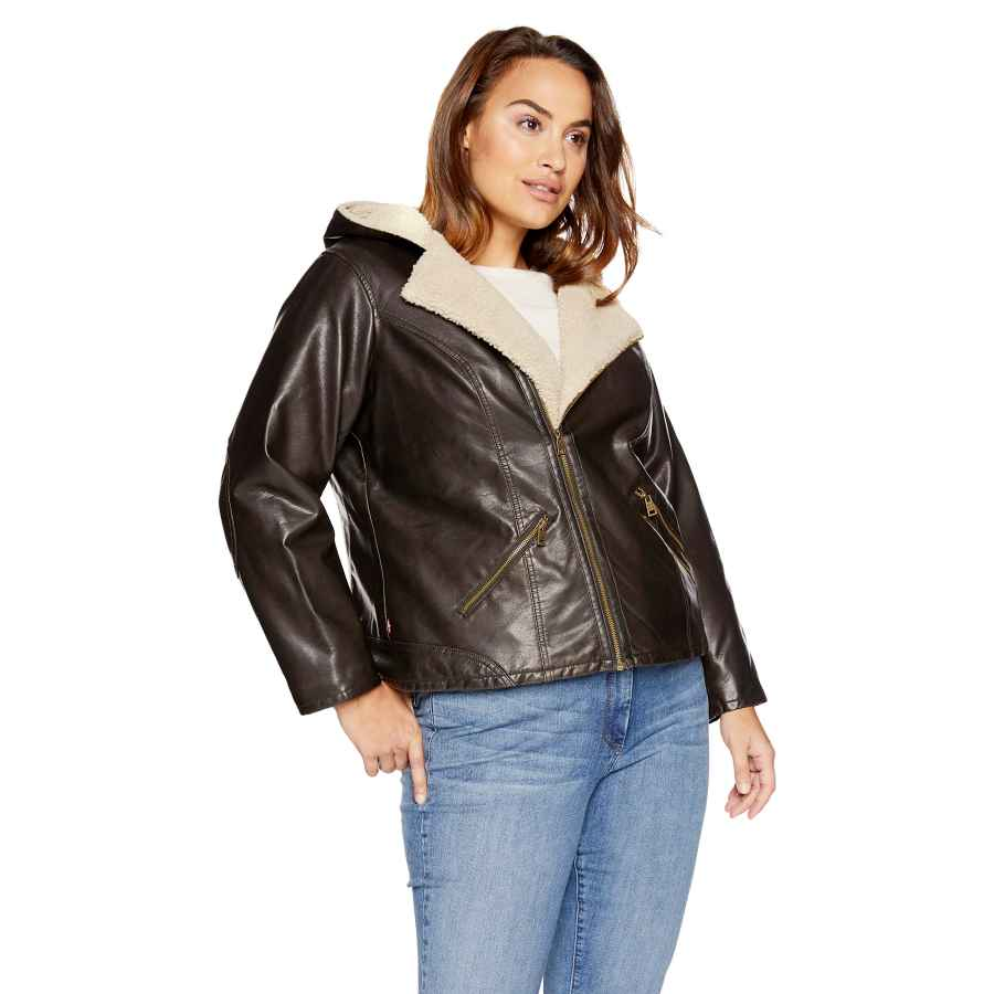 Levi's Women's Plus Size Faux Leather Sherpa Lined Hooded Moto Jacket
