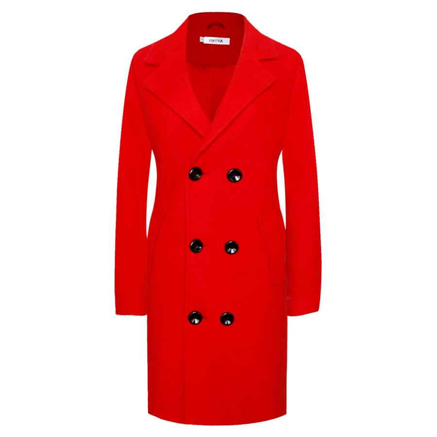 Aptro Women's Wool Blend Double Breasted Notched Lapels Winter Coat Mid-Long Pea Coat