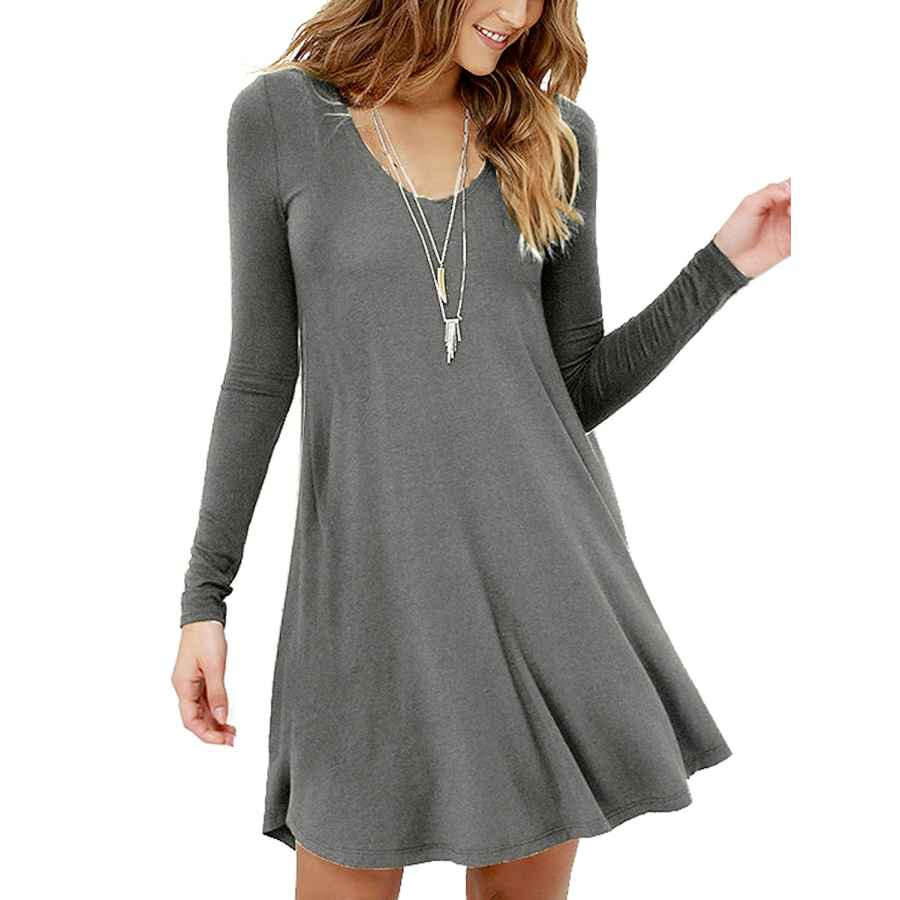 Womens Casual Dresses Viishow Women's Long Sleeve Casual Swing Simple T-Shirt Loose Dresses
