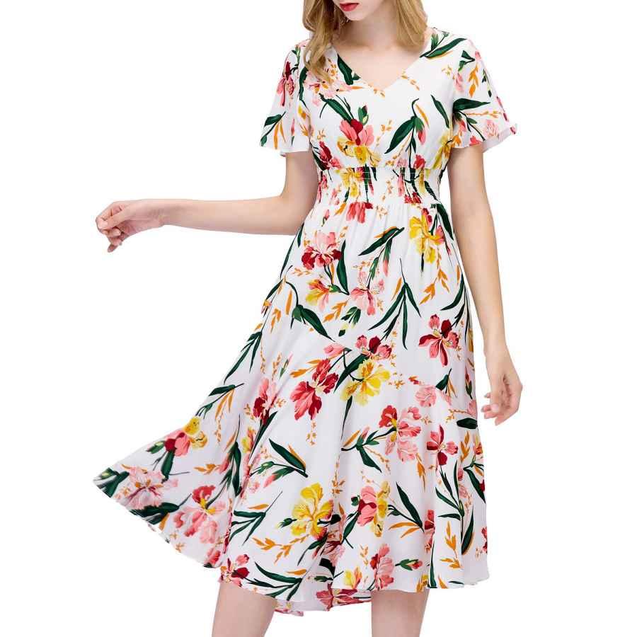 Womens Casual Dresses Gardenwed Floral Chiffon Dresses For Women Flowy Homecoming Cocktail Dress Casual Beach Sun Dress