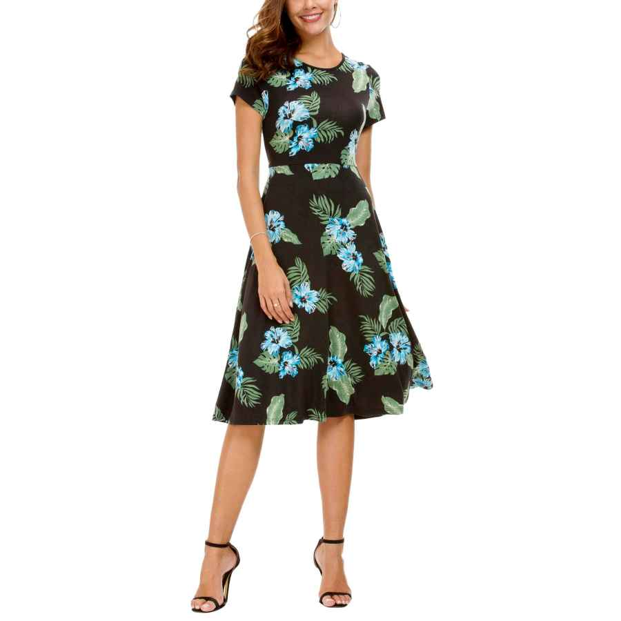Party Dresses Urban Coco Women's Floral Print Short Sleeve Flared