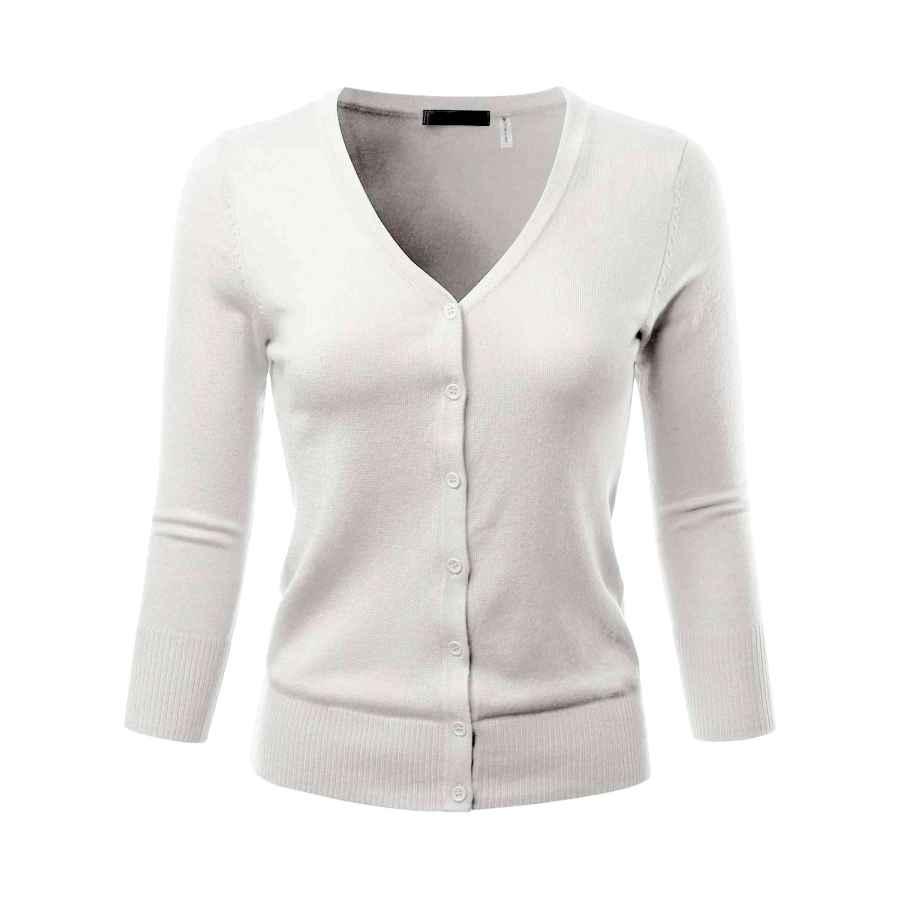 Cardigans Eimin Women's 3/4 Sleeve V-Neck Button Down Stretch Knit