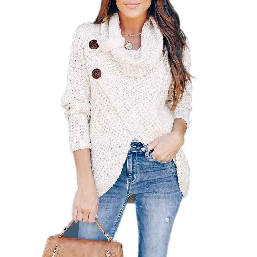 Pullower Inorin Womens Sweaters Casual Cowl Neck Chunky Cable Knit